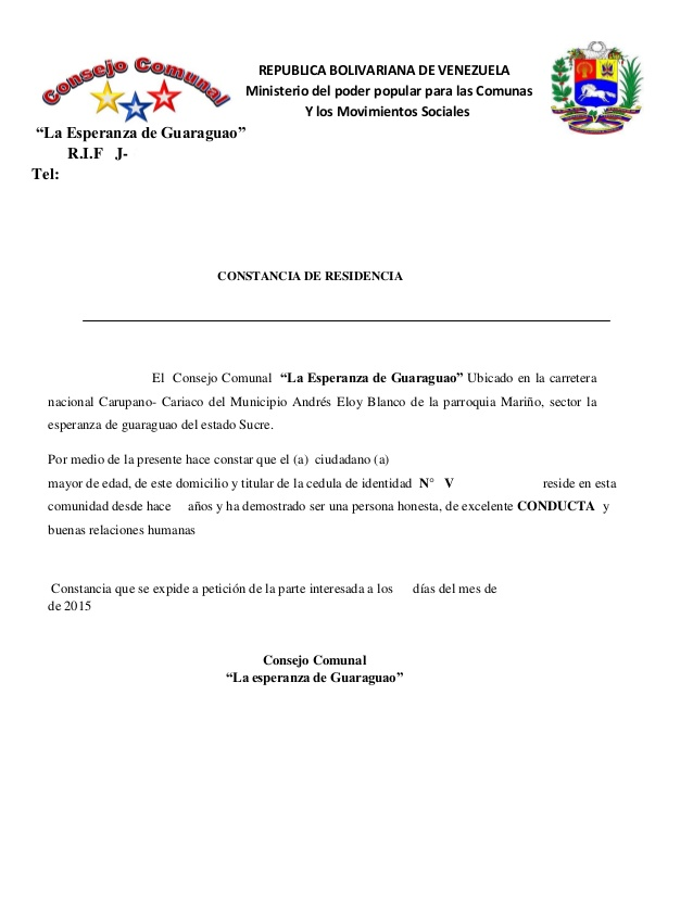 modelo de carta de residencia suscrita por la junta de condominio venezuela